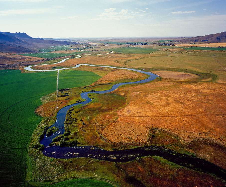 Limited Edition of 25 includes all sizes.  Aerial photograph of Silver Creek near Picabo looking west.