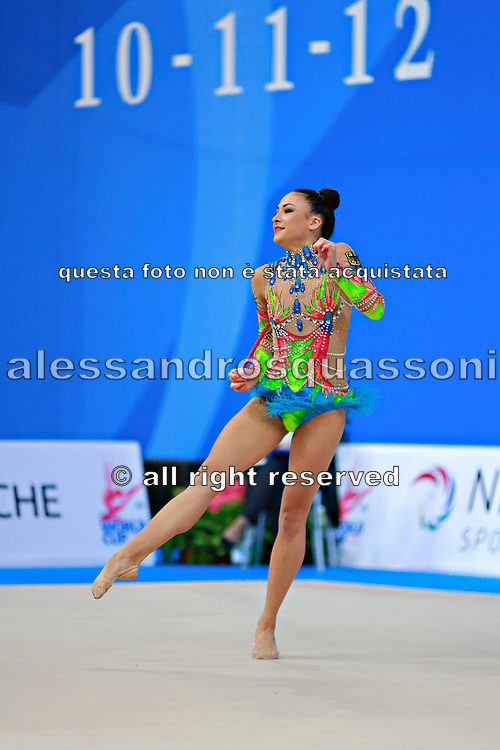 Berezko Jana during qualifying at clubs in Pesaro World Cup 11 April 2015.<br /> Jana is a German individual rhythmic gymnast of Russian origin, born on October 17, 1995 in Tolyatti, Russia.