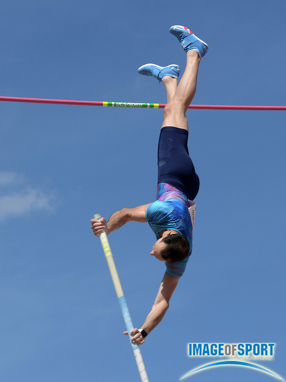 Mar 31, 2018; Austin, TX, USA; Renaud Lavillenie (FRA) wins the pole vault at 19-5 (5.92m) during the 91st Clyde Littlefield Texas Relays at Mike A. Myers Stadium.