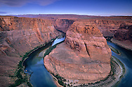 Morning light at Horseshoe Bend, Colorado River canyon (detail), near Page, Arizona