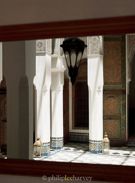 Decoration in a Dar, a traditional Moroccan house, now converted to a luxury hotel in Fes, Morocco