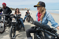 Leticia Cline on the beach at Daytona Bike Week 75th Anniversary event. FL, USA. Thursday March 3, 2016.  Photography ©2016 Michael Lichter.