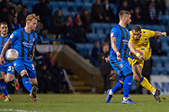 Bristol Rovers forward Jonson Clarke-Harris (19) scores a goal (0-1) during the EFL Sky Bet League 1 match between Gillingham and Bristol Rovers at the MEMS Priestfield Stadium, Gillingham, England on 12 March 2019.