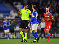 Football - 2021 / 2022 UEFA Europa League - Group C, Round One - Leicester City vs Napoli - King Power Stadium - Thursday 16th September 2021<br /> <br /> Referee Tiago Martins (POR) with Leicester City's James Maddison.<br /> <br /> COLORSPORT/Ashley Western