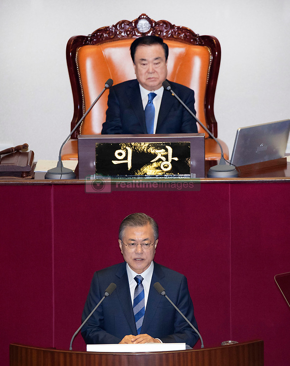 Nov 1, 2018 - Seoul, South Korea - South Korean President MOON JAE IN delivers his speech on the government's 2019 budget proposal during a plenary session at the National Assembly in Seoul. President Moon said Thursday that North Korean leader Kim Jong Un will soon visit Seoul as part of a flurry of high-profile diplomacy aimed at ridding North Korea of its nuclear weapons. (Credit Image: © Republic of Korea/Pool/via ZUMA Wire)