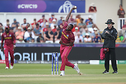July 1, 2019 - Chester Le Street, County Durham, United Kingdom - Jason Holder of West Indies bowling during the ICC Cricket World Cup 2019 match between Sri Lanka and West Indies at Emirates Riverside, Chester le Street on Monday 1st July 2019. (Credit Image: © Mi News/NurPhoto via ZUMA Press)