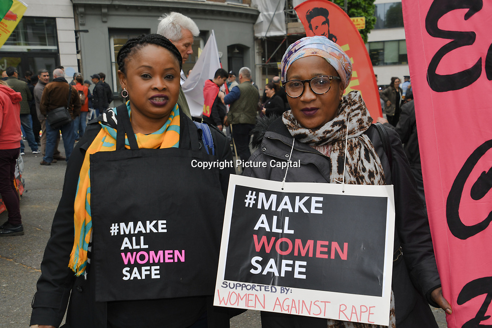 London, UK. 1st May, 2019.  English Collective of Prostitutes join Thousands of people for the annual May Day march on May 1st, 2019 in London.