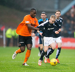 Dundee United's Guy Demel and Dundee's Nicky Low. <br /> Dundee 2 v 1  Dundee United, SPFL Ladbrokes Premiership game played 2/1/2016 at Dens Park.