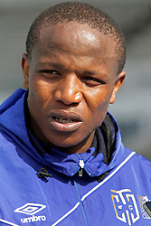 Lebo Manyama speaks to the media after his team's morning training session during the Cape Town City FC Media Open Day held at the Greenpoint Athletics Stadium in Cape Town, Western Cape, South Africa on the 19th August 2016.<br /> <br /> Photo by: Mark Wessels / Real Time Images.