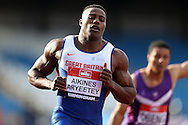 Harry Aikines-Aryeety winning the 100m heat race.The British Championships 2016, athletics event at the Alexander Stadium in Birmingham, Midlands  on Fri  24th June 2016.<br /> pic by John Patrick Fletcher, Andrew Orchard sports photography.