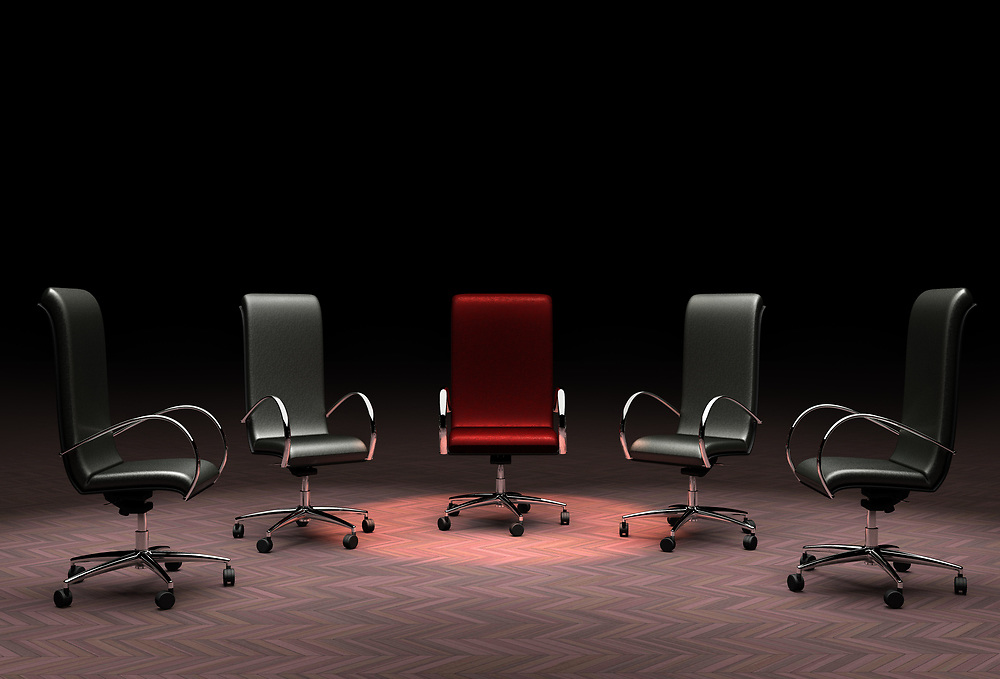 3D rendering of a group of office chairs representing the concepts of leadership, stand out from the crowd, different.