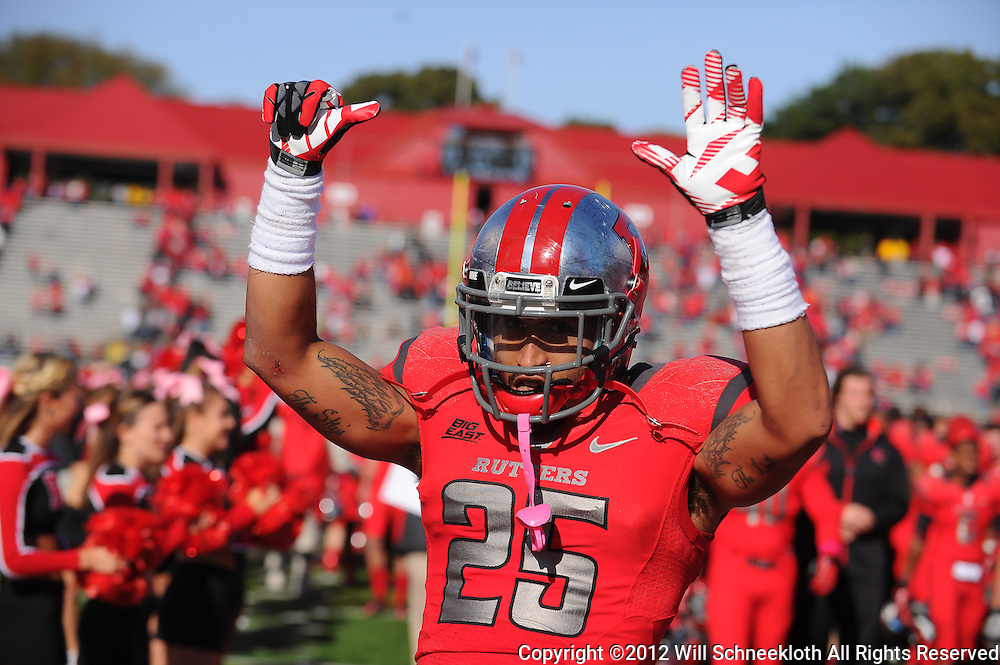 Oct 13, 2012: Rutgers Scarlet Knights defensive back Brandon Jones (25) holds up a finger for each of Rutgers' 6 victories in celebrating Rutgers' victory in NCAA Big East college football between the Rutgers Scarlet Knights and Syracuse Orange at High Point Solutions Stadium in Piscataway, N.J.