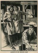 William Caxton (c1422-1491) in his printing shop.