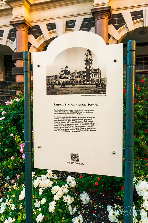 Interpretive sign at the Dunedin Railway Station, Dunedin, South Island, New Zealand