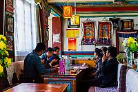 Chinese people eating lunch, Tashi Restaurant, Tsedang, Tibet (Xizang), China.