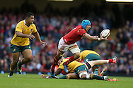 Justin Tipuric of Wales looks to offload the ball. Under Armour 2016 series international rugby, Wales v Australia at the Principality Stadium in Cardiff , South Wales on Saturday 5th November 2016. pic by Andrew Orchard, Andrew Orchard sports photography