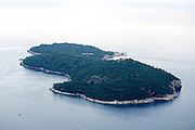 Elevated view of Lokrum Island, Dubrovnik, Croatia.