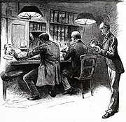 'Trying to decipher addresses on 'Blind' letters at the General Post Office, London. This task called for experience and ingenuity if a letter for 'Obanvidock' was to arrive at 'Holborn Viaduct'. Engraving, 1884.'