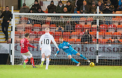 Dunfermline's Rhys McCabe scoring their goal. Dunfermline 1 v 1 Falkirk, Scottish Championship game played 26/12/2016 at East End Park.