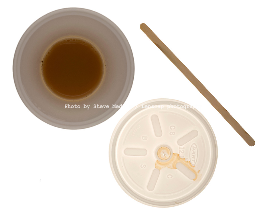 Empty Tea / Coffee Polystyrene Cup with Lid and Wooden Stirrer