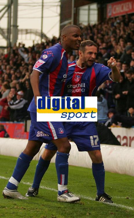 Photo: Frances Leader.<br />Crystal Palace v Sheffield Utd. Coca Cola Championship.<br />05/11/2005.<br /><br />Crystal Palace's Michael Hughes (right) celebrates his gaol