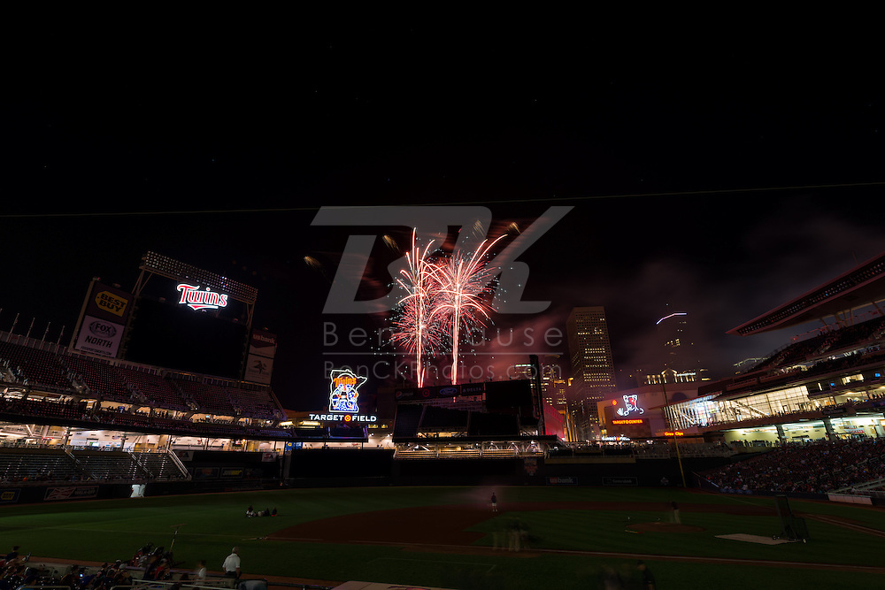 A general view of Target Field during a fireworks show on August 2, 2013 in Minneapolis, Minnesota.  Photo by Ben Krause
