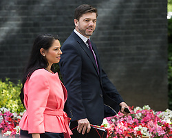 © Licensed to London News Pictures . 05/07/2016 . London , UK . PRITI PATEL and STEPHEN CRABB leave . Conservative Party cabinet meeting on Downing Street , London . Photo credit: Joel Goodman/LNP