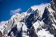 "Nevado Jirishanca (""Icy Beak of the Hummingbird,"" 6094 m), seen from Tuctucpampa. Day 1 of 9 days trekking around the Cordillera Huayhuash, Andes Mountains, Peru, South America."