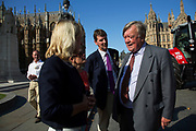 MP Kenneth Clarke speaks to NFU staff and farmers at the National Farmers Union NFU took machinery, produce, farmers and staff to Westminster to encourage Members of Parliament to back British farming, post Brexit on 14th September 2016 in London, United Kingdom. MPs were encouraged to sign the NFU's pledge and wear a British wheat and wool pin badge to show their support.