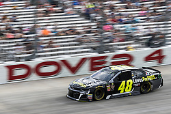 October 7, 2018 - Dover, DE, U.S. - DOVER, DE - OCTOBER 07: Jimmie Johnson had a lower ball joint failure on the parade lap on his #48 Lowe's for Pros Chevrolet, returned to the Gander Outdoors 400, ten laps later, on October 07, 2018, at Dover International Speedway in Dover, DE. (Photo by David Hahn/Icon Sportswire) (Credit Image: © David Hahn/Icon SMI via ZUMA Press)