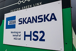 London, UK. 28 January, 2020. A sign indicates a site designated for the HS2 project close to Euston station. Cost projections for the high-speed rail link are reported to have risen to £106bn and the Government is expected to make a decision regarding its viability this week.