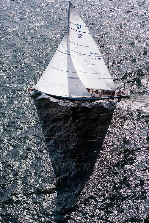 Columbia sailing in the Panerai Newport Classic Yacht Regatta, day one.