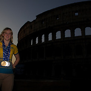 Australian Gold medal winner Jessicah Schipper during a 6am photo shoot outside the Coloseum in Rome, Italy on  Monday, August 03, 2009. Photo Tim Clayton