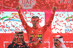 March 1, 2019 - Jebel Jais, United Arab Emirates - Primoz Roglic of Slovenia and Team Jumbo - Visma, celebrates after he wins the sixth Rak Properties Stage of UAE Tour 2019, ahead of Tom Dumoulin (Sunweb Team), a 180km with a start from Ajman and finish in Jebel Jais. .On Friday, March 1, 2019, in Jebel Jais, Ras Al Khaimah Emirate, United Arab Emirates. (Credit Image: © Artur Widak/NurPhoto via ZUMA Press)