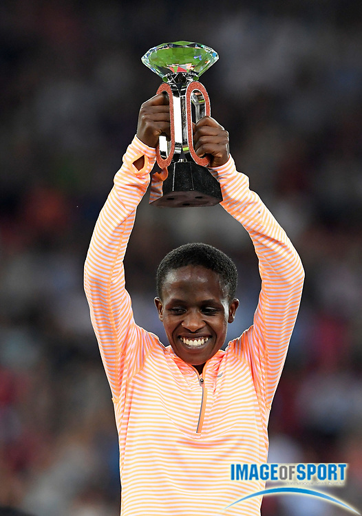 Sep 1, 2015; Zurich, SWITZERLAND; Ruth Jebet (BRN) poses with the IAAF Diamond League women's steeplechase champion trophy at the 2016 Weltklasse Zurich during an IAAF Diamond League meeting at Letzigrund Stadium. Photo by Jiro Mochizuki