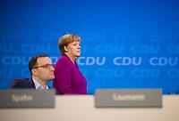 DEU, Deutschland, Germany, Berlin,26.02.2018: Der designierte Bundesgesundheitsminister Jens Spahn (CDU) und Bundeskanzlerin Dr. Angela Merkel (CDU) auf dem Parteitag der CDU in der Station. Die Delegierten stimmten mit großer Mehrheit für die Neuauflage der Großen Koalition (GroKo).