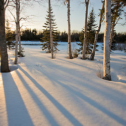 """The sun goes down behind the trees in the """"front yard"""" of Medawisla Wilderness Camps near Greenville, Maine."""