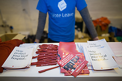 """© Licensed to London News Pictures . 15/04/2016 . Manchester , UK . Campaigning material saying the NHS will benefit from a Brexit . Boris Johnson speaks at a """" Vote Leave """" rally at Old Granada Studios , in Manchester . Photo credit: Joel Goodman/LNP"""
