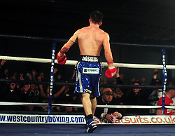 Lee Haskins faces the crowd who cheer his win - Photo mandatory by-line: Dougie Allward/JMP - Tel: Mobile: 07966 386802 27/04/2013 - SPORT - FOOTBALL - City Academy Sports Centre - Bristol - Lee Haskins V Martin Ward - British bantamweight title