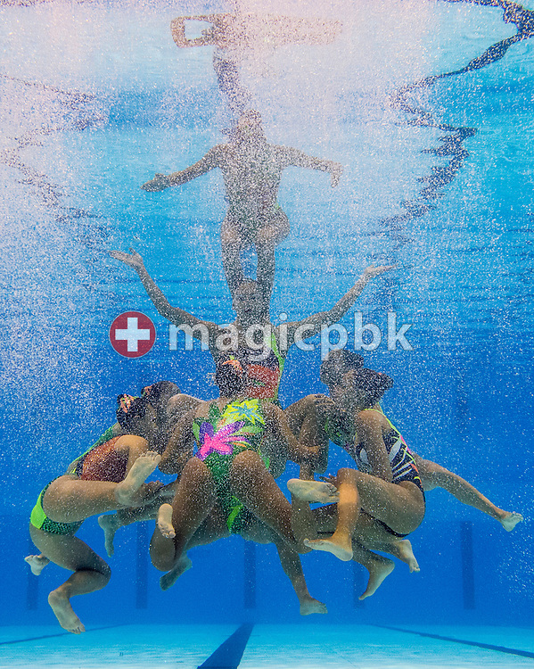 Team Greece competes in the Synchronized (synchronised) Swimming Team Free Preliminaries during the 15th FINA World Aquatics Championships at the Palau Sant Jordi in Barcelona, Spain, Tuesday, July 23, 2013. (Photo by Patrick B. Kraemer / MAGICPBK)