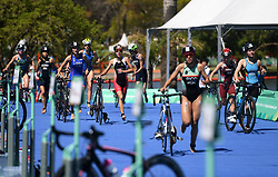 BUENOS AIRES, Oct. 8, 2018  Athletes compete during the Women's Triathlon match at the 2018 Summer Youth Olympic Games in Buenos Aires, capital of Argentina, Oct. 7, 2018. (Credit Image: © Li Jundong/Xinhua via ZUMA Wire)