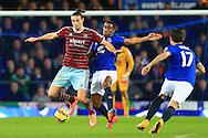 West Ham's Andy Carroll battles Sylvain Distin of Everton - Everton vs. West Ham United - Barclay's Premier League - Goodison Park - Liverpool - 22/11/2014 Pic Philip Oldham/Sportimage