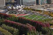 Aerial view of the Jay Pritzker Pavilion in Millennium Park in Chicago USA