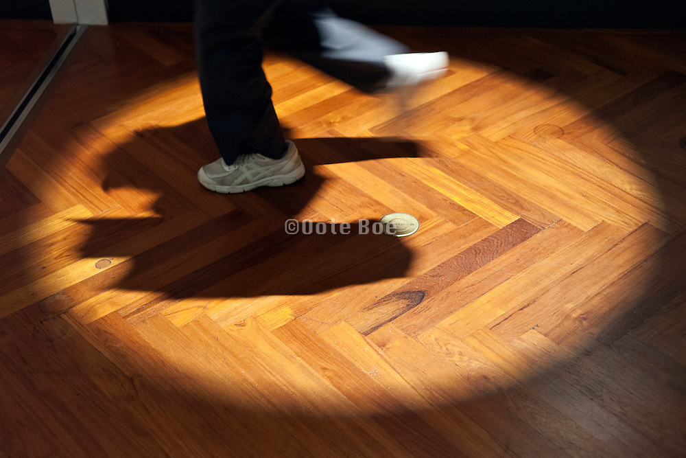 parquet floor with spot light and person running with hawk like shadow