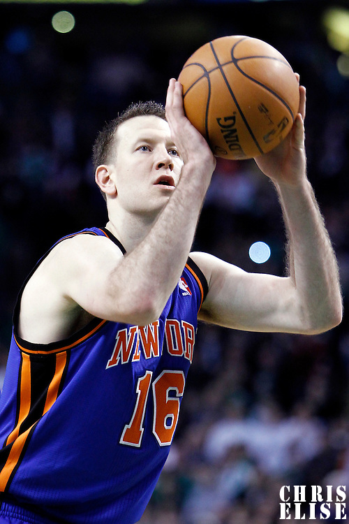 04 March 2012: New York Knicks small forward Steve Novak (16) is seen at the free throw line during the Boston Celtics 115-111 (OT) victory over the New York Knicks at the TD Garden, Boston, Massachusetts, USA.