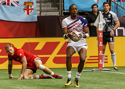 March 10, 2018 - Vancouver, British Columbia, U.S. - VANCOUVER, BC - MARCH 10: Perry Baker (#11) of USA scores a 2nd try during Game # 16- Usa vs Canada Pool A match at the Canada Sevens held March 10-11, 2018 in BC Place Stadium in Vancouver, BC. (Photo by Allan Hamilton/Icon Sportswire) (Credit Image: © Allan Hamilton/Icon SMI via ZUMA Press)