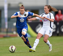 Frankie Brown of Bristol Academy Women battles with  Charlie Wellings of Birmingham City Ladies - Mandatory by-line: Paul Knight/JMP - Mobile: 07966 386802 - 29/08/2015 -  FOOTBALL - Stoke Gifford Stadium - Bristol, England -  Bristol Academy Women v Birmingham City Ladies FC - FA WSL Continental Tyres Cup