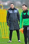Hibernian FC manager, Jack Ross is all smiles during the Hibernian press conference and training session at Hibernian Training Centre, Ormiston, Scotland on 18 December 2020.