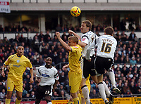 Photo: Kevin Poolman.<br />Derby County v Sheffield Wednesday. Coca Cola Championship. 13/01/2007. Derby's Steve Howard and Arturo Lupoli both go up for a header.