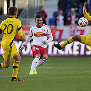 Armando , (centre), New York Red Bulls, in action during the New York Red Bulls Vs Columbus Crew, Major League Soccer regular season match at Red Bull Arena, Harrison, New Jersey. USA. 19th October 2014. Photo Tim Clayton